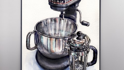 Day 16 My Favorite Place In My Home #WorldWatercolorGroup KitchenAid Mixer French Press