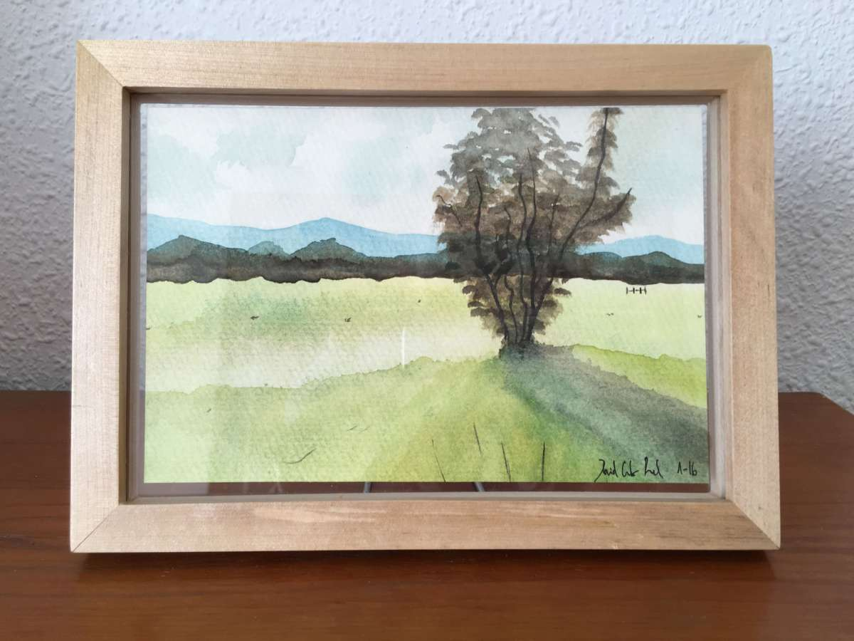 Doodlewash and watercolor by David Calderón Real of framed landscape