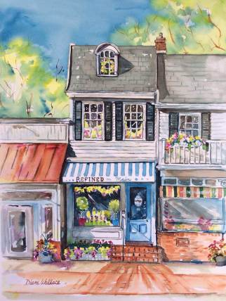 Doodlewash - Watercolor painting by Diane Wallace of main street