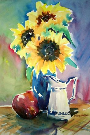 Doodlewash - Watercolor painting by Diane Wallace of sunflowers