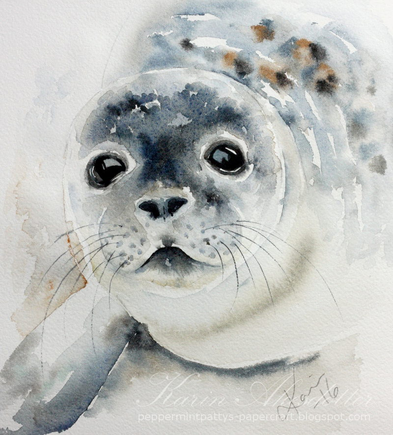 Doodlewash - watercolor painting by Karin Åkesdotter of baby seal