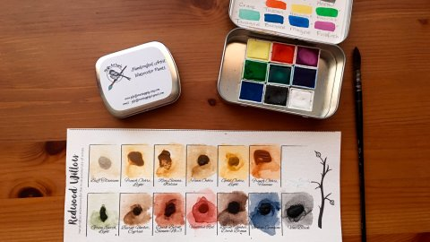 Pfeiffer Art Supply wrapped half pans and tins and handpainted swatch card and Redwood Willow watercolor sample dot card