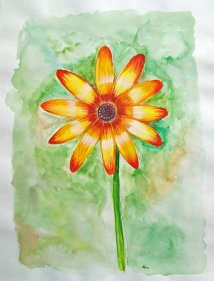 Doodlewash - Watercolor painting by Athira Gopal of orange flower