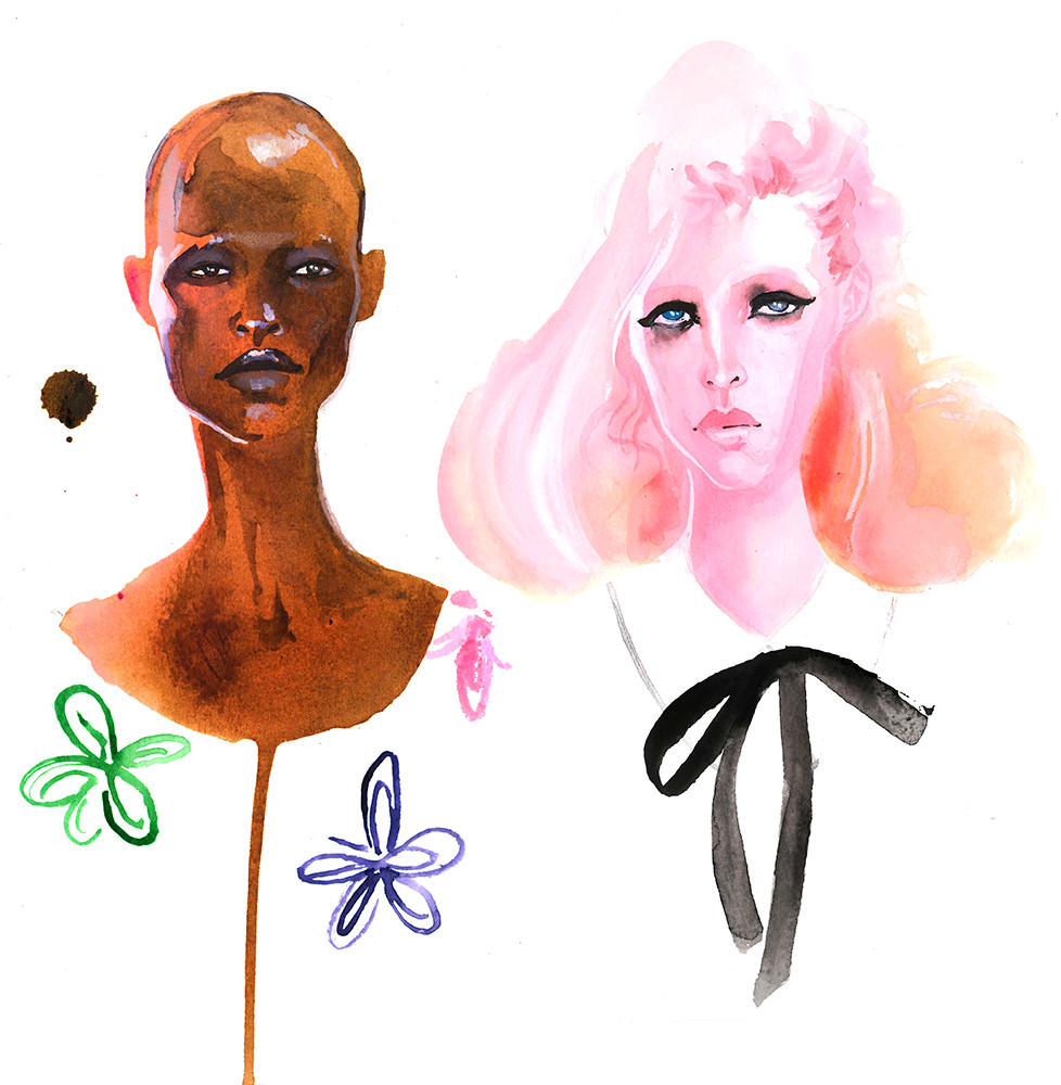 Doodlewash - Watercolor Illustration - Fashion - by James Skarbeck of faces