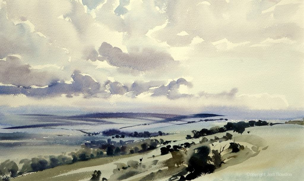 Doodlewash - Studio Watercolor Painting by Jem Bowden of malling down