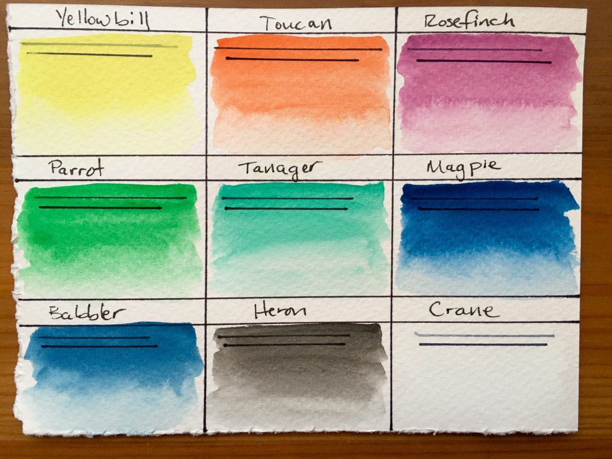 Pfeiffer Art Supply watercolor swatches on fabriano paper