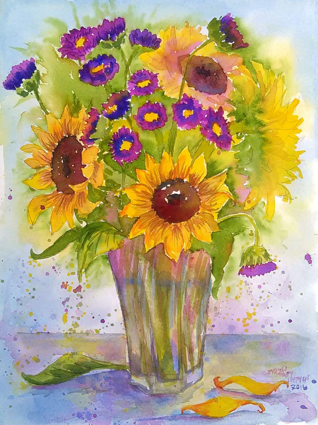 Connecticut watercolor artists directory -  Doodlewash Watercolor By Lindsay Weirich Of Sunflowers Worldwatercolorgroup
