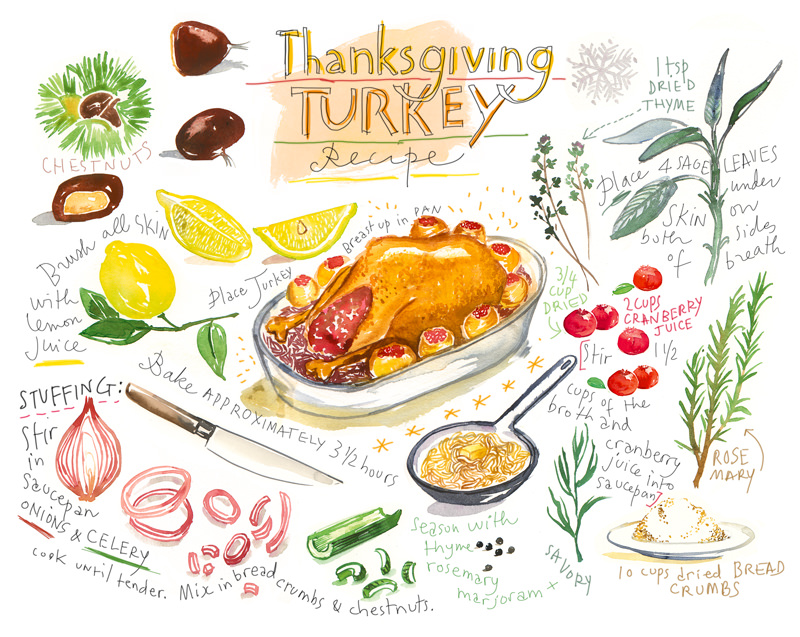 #Doodlewash - Watercolor illustration by Lucile Prache (Lucile's Kitchen) of Thanksgiving Turkey Recipe #WorldWatercolorGroup