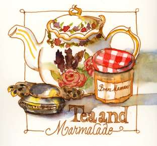 Doodlewash and watercolor sketch by Meliessa Garrison Elliott of Tea and Marmalade
