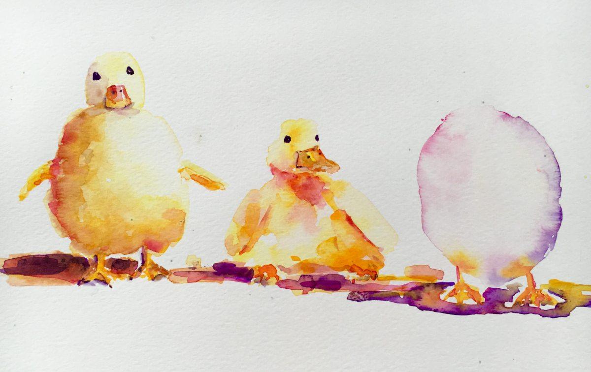 #Doodlewash - #Watercolor by Sarah Ongsun - yellow duck - #WorldWatercolorGroup