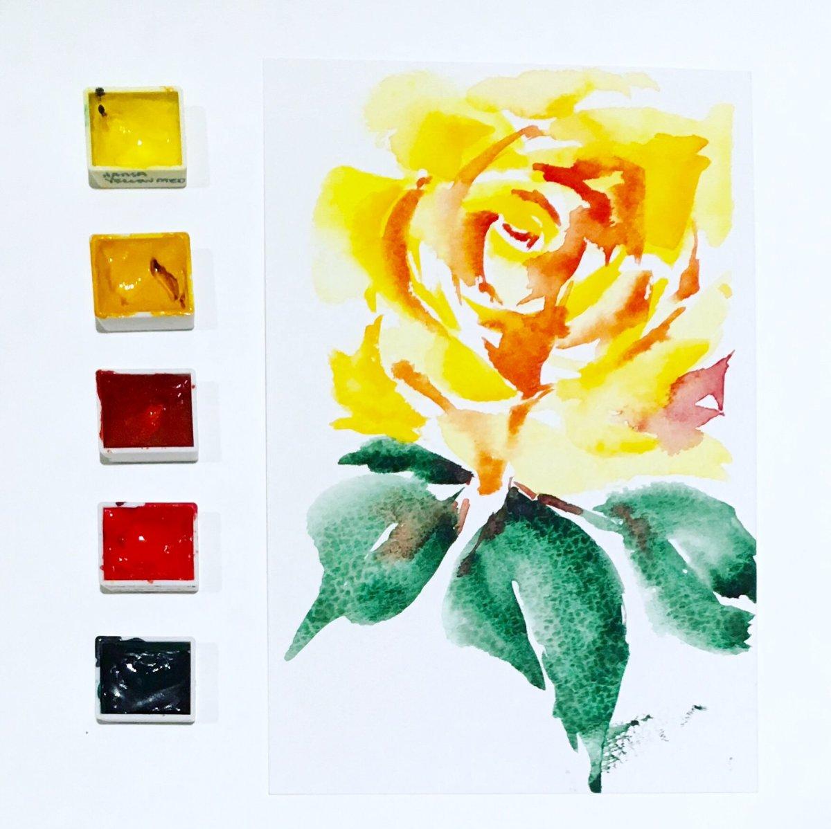 #Doodlewash - #Watercolor by Sarah Ongsun - yellow rose - #WorldWatercolorGroup