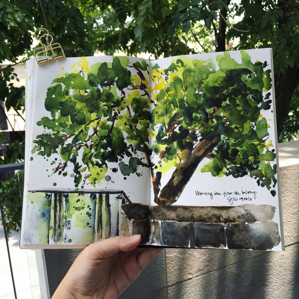 #Doodlewash - #Watercolor by Sarah Ongsun - tree - #WorldWatercolorGroup