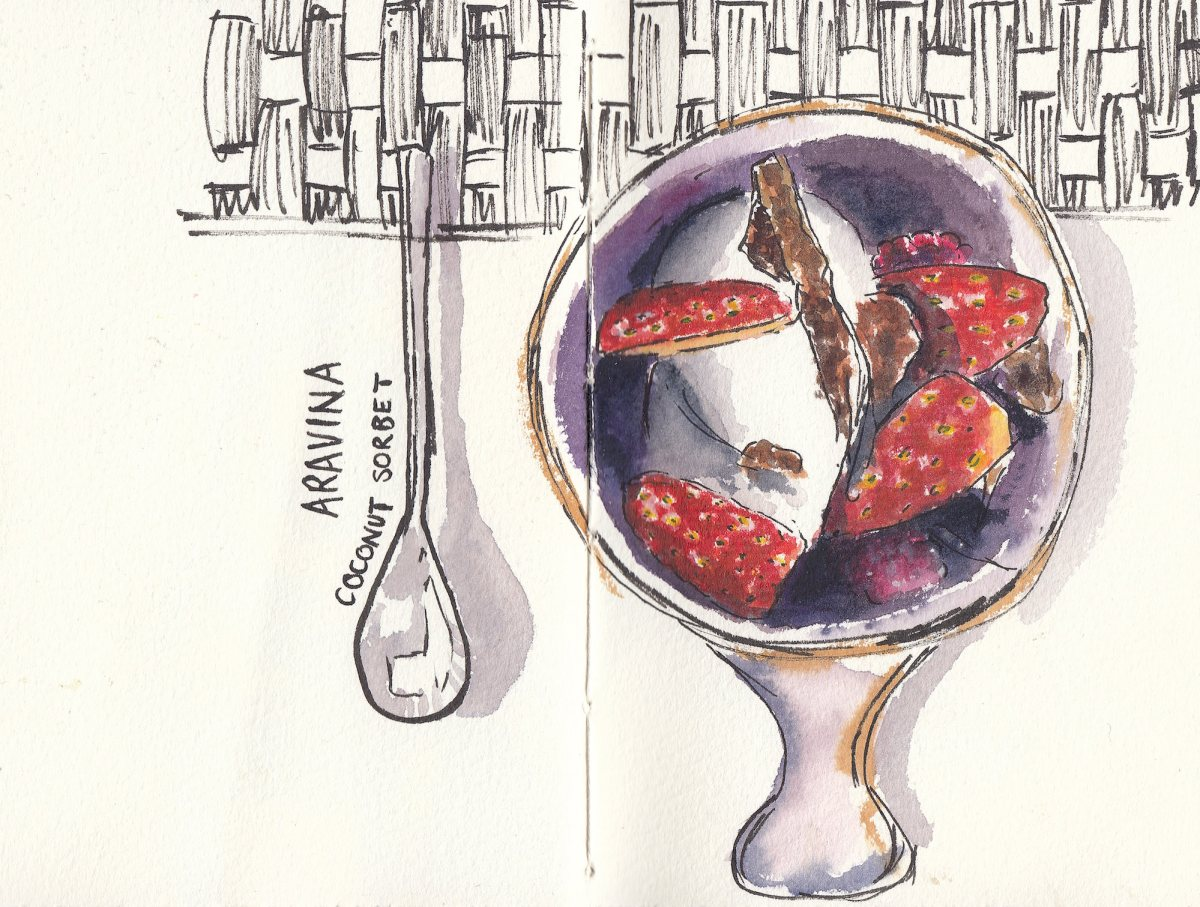 #Doodlewash - Watercolor sketch by Leslie Chua Aravina coconut sorbet - #WorldWatercolorGroup