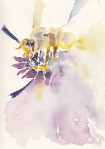 #Doodlewash - Watercolor sketch by Leslie Chua - bee - #WorldWatercolorGroup