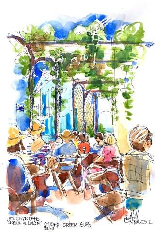 #Doodlewash - Watercolor Sketch By Erin Hill - cafe in symi greek isles- #WorldWatercolorGroup