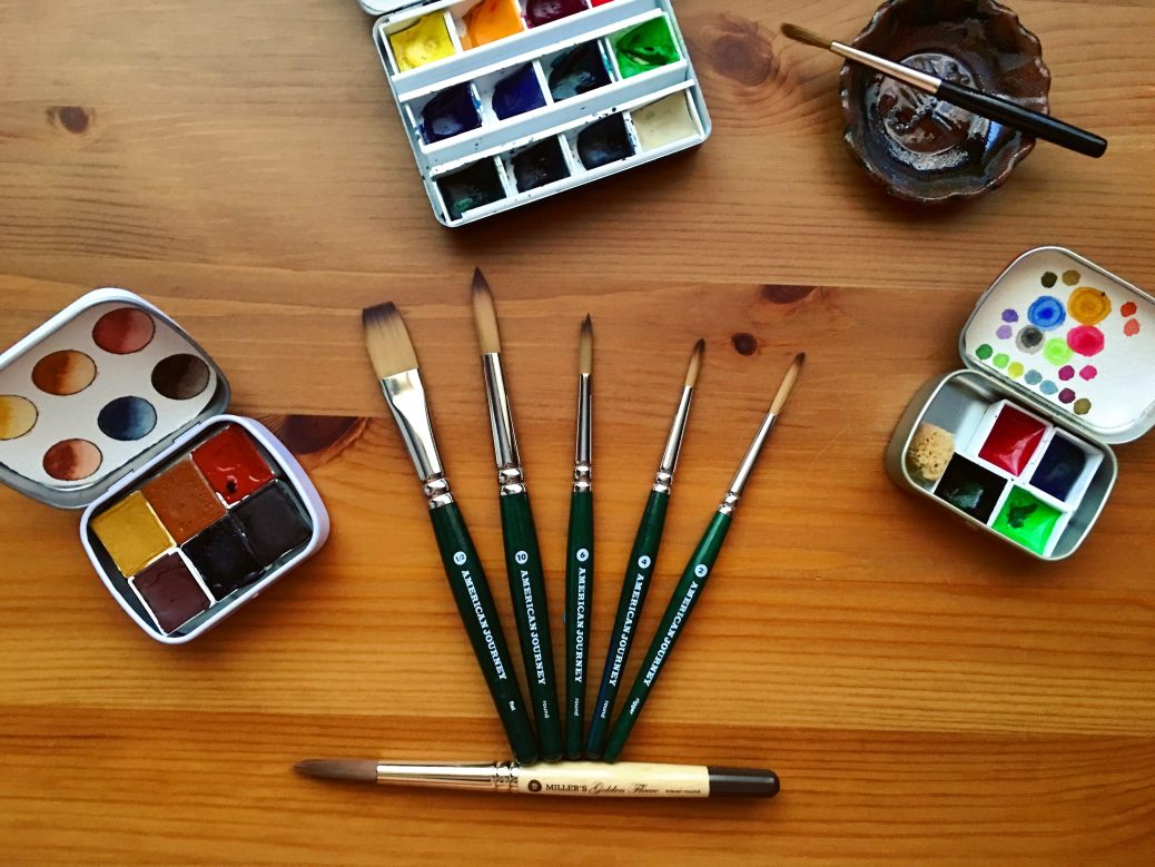 Cheap Joes American Journey and golden fleece Travel brushes and da vinci cosmotop spin travel brush Mochi Things Better Together note pouch v3 watercolor travel setup, watercolor brushes, redwood and willow watercolors, whiskey painters palette, altoid watercolor palette