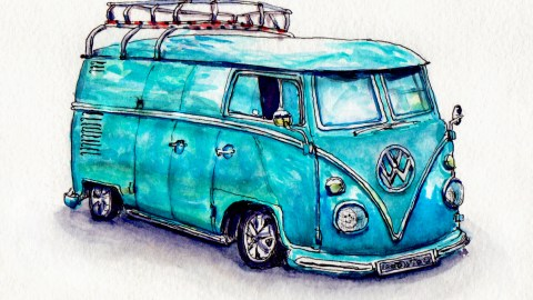 Day 17 #WorldWatercolorGroup Recreational Vehicle Volkswagen Camper Van