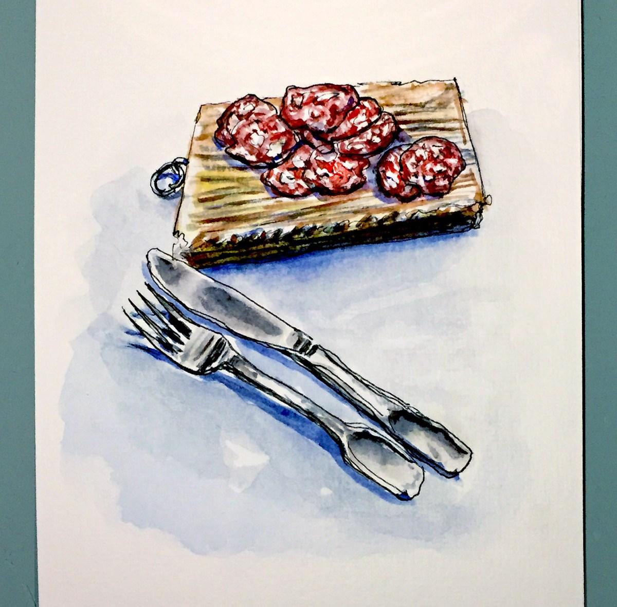 Day 24 #WorldWatercolorGroup Le Bon Saucisson Sec Cutlery Paris