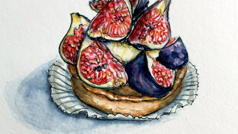 Day 26 #WorldWatercolorGroup Tarte Aux Figues Fig Tart Food Paris France
