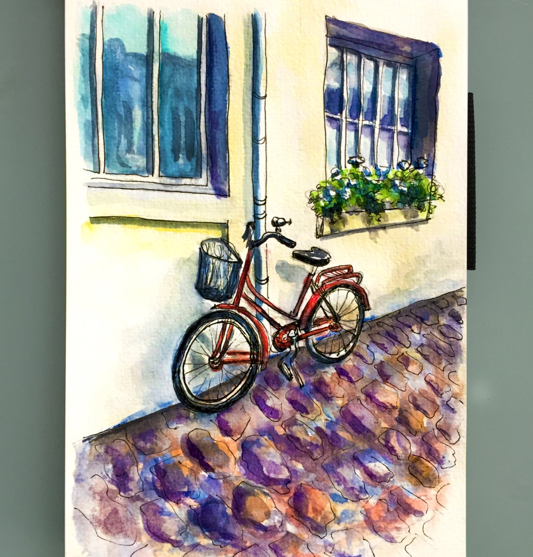 Day 28 #WorldWatercolorGroup La Vue De Notre Appartement Bicycle in Paris France