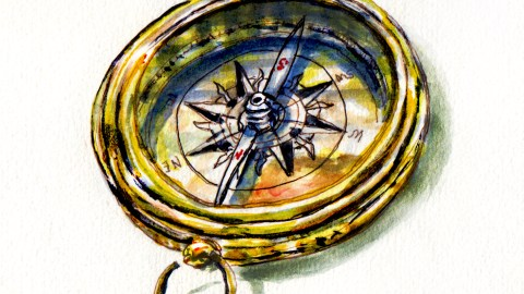 Day 4 #WorldWatercolorGroup Finding Your Compass watercolor of Golden Compass