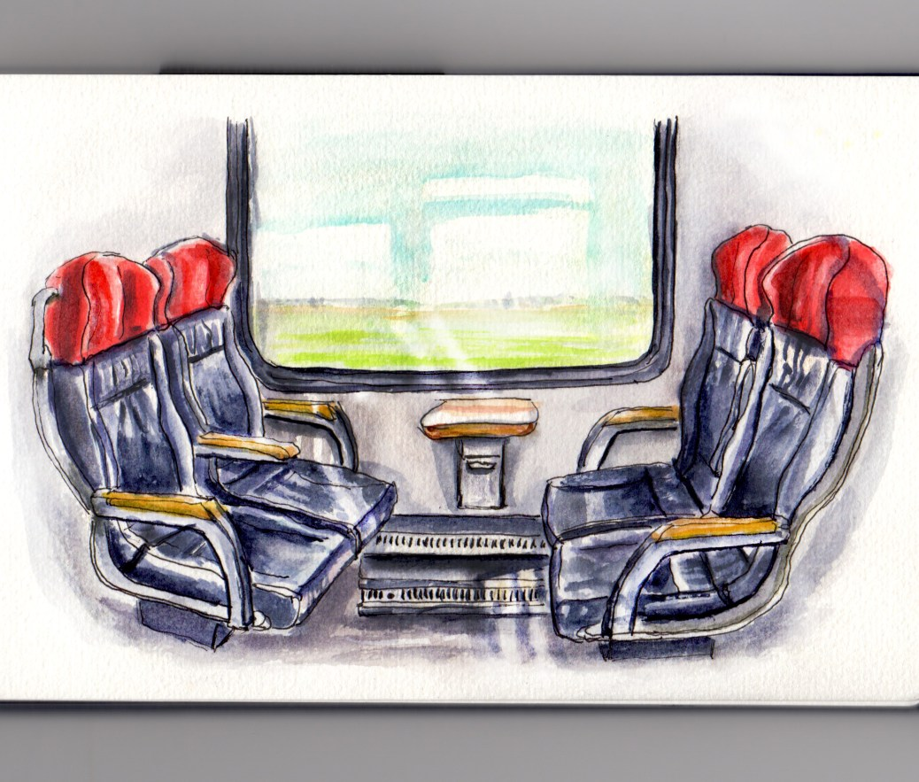 Day 8 #WorldWatercolorGroup Traveling By Train Interior Train Seats with Window First Class