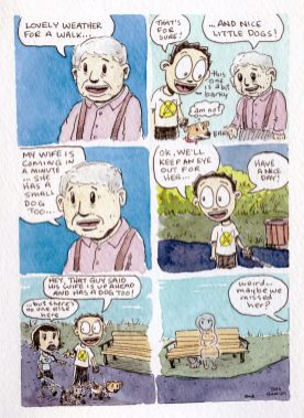 #Doodlewash - Watercolor comic by Damian Willcox, dorkboy comics - blind date - #WorldWatercolorGroup