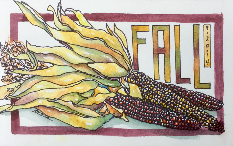 #Doodlewash - Watercolor by Annie Glacken - fall corn - #WorldWatercolorGroup