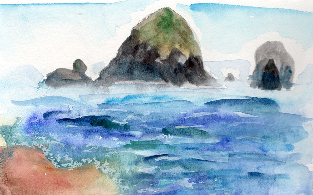 #Doodlewash - Watercolor by Anya Kopotilova - haystack rock - #WorldWatercolorGroup
