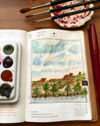 Qor high chroma and earth set of 6 watercolors painting in a hobonichi techo planner