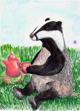 #Doodlewash - Watercolor by Anya Kopotilova - badger - #WorldWatercolorGroup