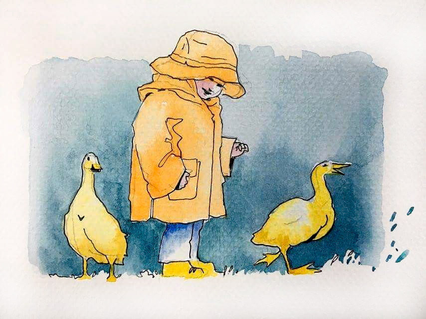#Doodlewash - Watercolor Sketch by Abel Pabres - boy with ducks - #WorldWatercolorGroup