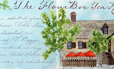 #Doodlewash - The Flour Box Tea Room - #WorldWatercolorGroup