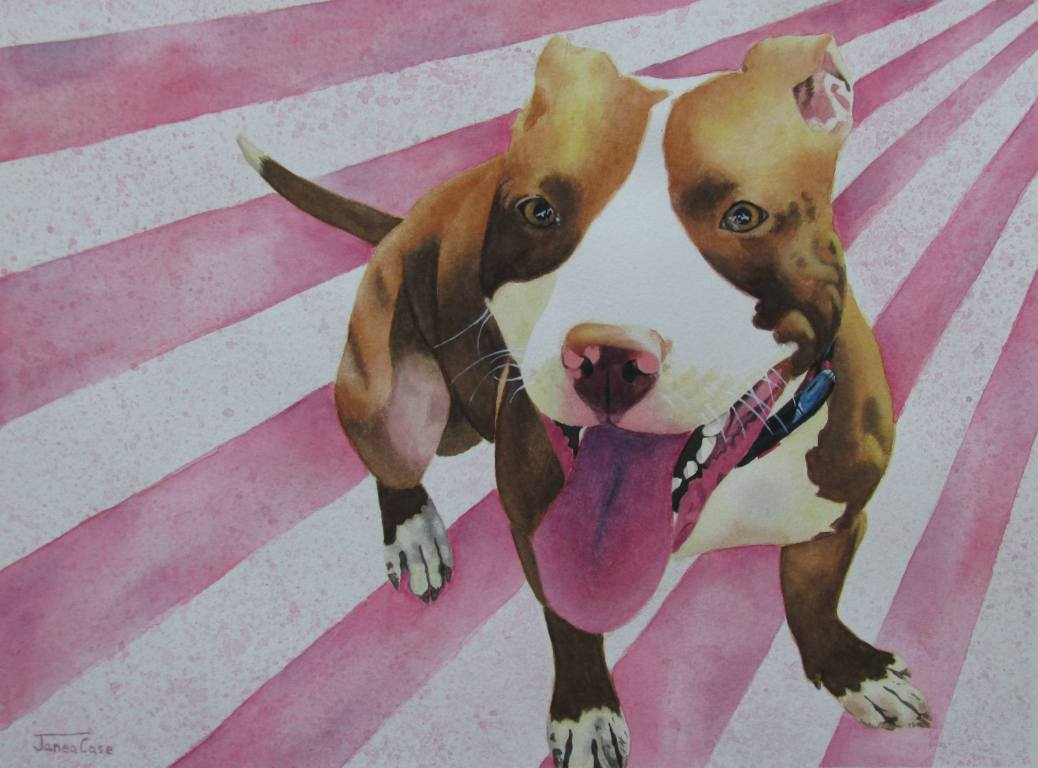 #Doodlewash - Watercolor by Janea Case of pitbull painting with striped background - #WorldWatercolorGroup