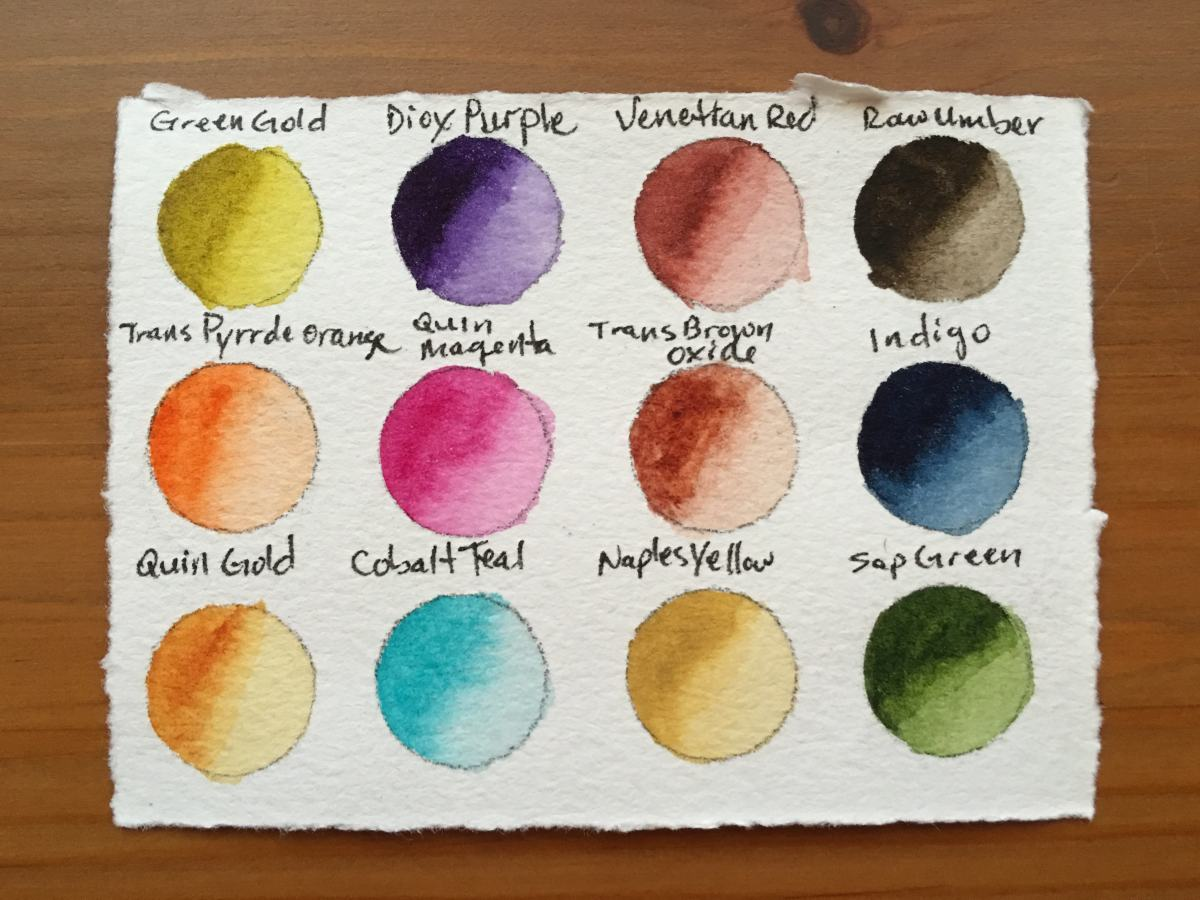 Qor high chroma and earth set of 6 watercolors in a 12 well jack richeson porcelain palette, painting swatch