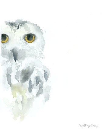 #Doodlewash - Watercolor by Cathy Zhang of snow owl - #WorldWatercolorGroup