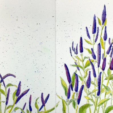 #Doodlewash - Watercolor by Annie Glacken - Stillman & Birn sketchbook Purple Flowers - #WorldWatercolorGroup
