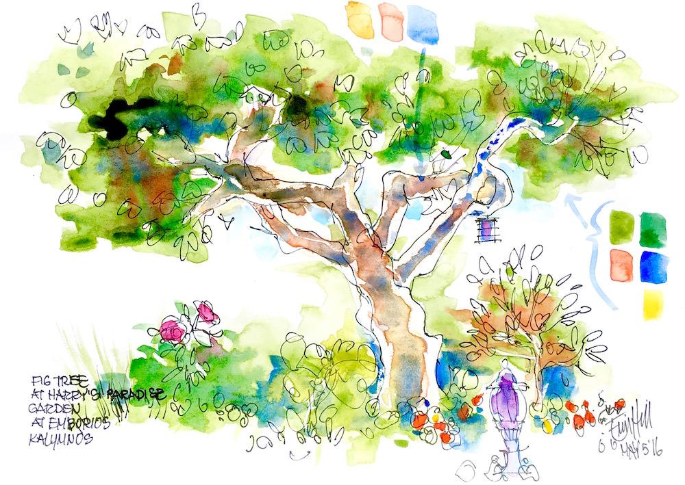 #Doodlewash - Watercolor Sketch By Erin Hill - watercolour tree demo - #WorldWatercolorGroup