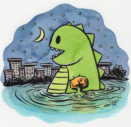 #Doodlewash - Watercolor comic by Damian Willcox, dorkboy comics - water wings on godzilla - #WorldWatercolorGroup