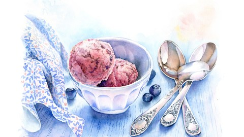 #WorldWatercolorGroup - Watercolor by Kateryna Savchenko ice cream and spoon blueberries - #doodlewash