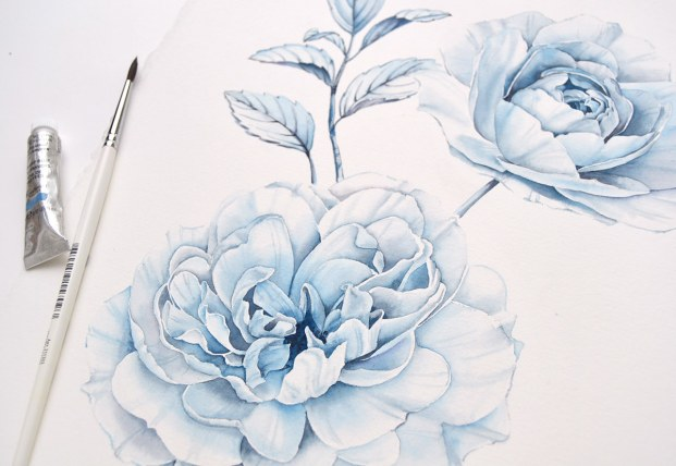 #WorldWatercolorGroup - Watercolor by Kateryna Savchenko of blue rose - #doodlewash