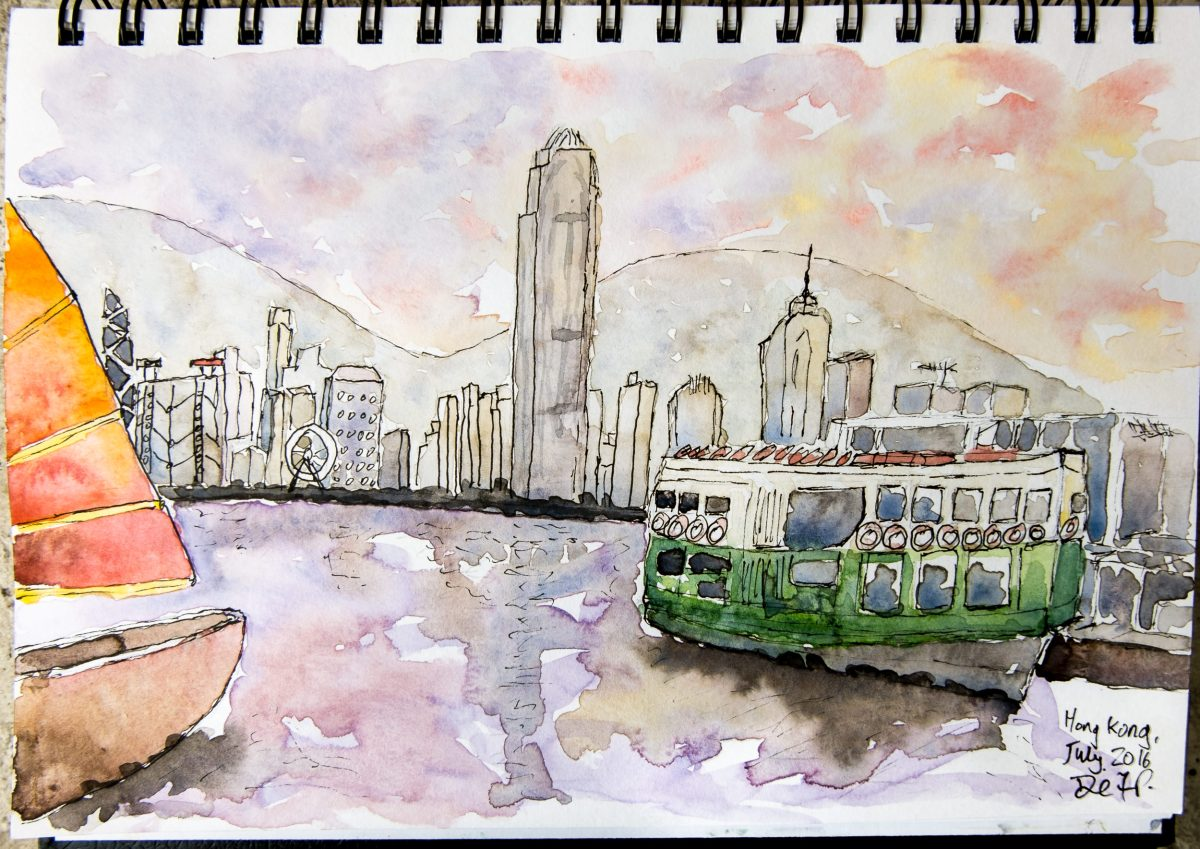 #WorldWatercolorGroup Watercolor painting by Daniel Trump of cityscape - #doodlewash