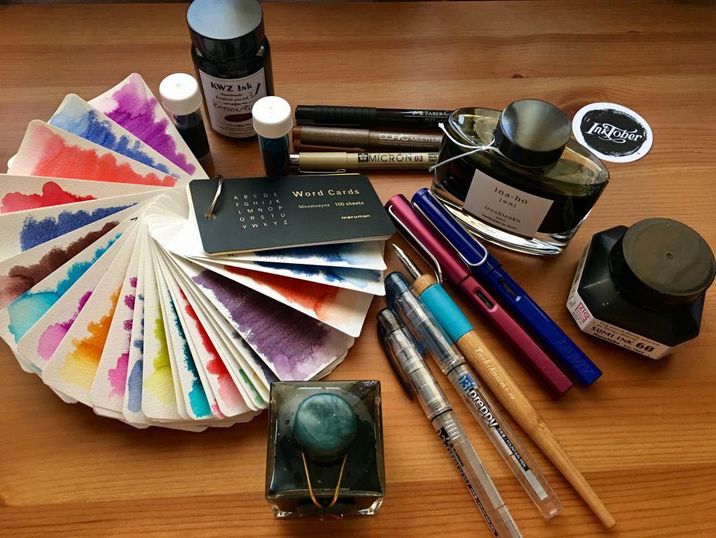 Platinum Preppy, Lamy Safari, Lamy Al-star, Noodler's Ahab, Noodler's brush pens, fountain pens, affordable fountain pens, fountain pens for sketching, copic multiliner, pigma micron, faber-castel pitt artist pen, iroshizuku ina-ho, zig sumi ink, j. herbin emerald of chivor, kwz brown-pink ink, mnemosyne word cards, fountain pen ink swatch samples, tachikawa nib holder, dip pen
