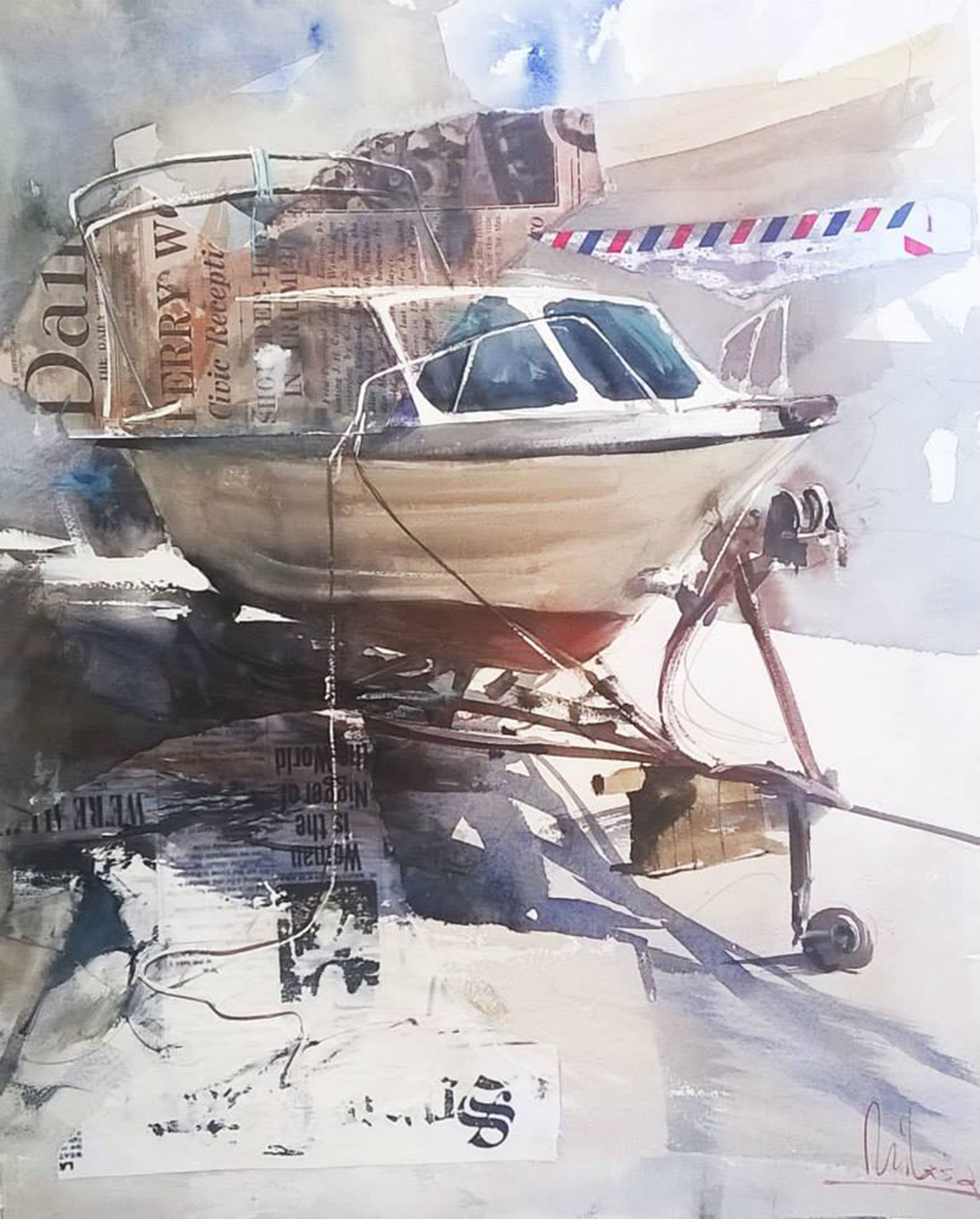 #WorldWatercolorGroup - watercolor by Dalibor Popovic Miksa of boat - #doodlewash