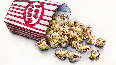 Day 20 - #WorldWatercolorGroup Popcorn Memories spilling out of red and white striped popcorn bag box