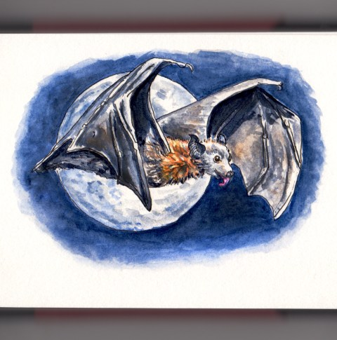 Day 27 - #WorldWatercolorGroup Full Moon Madness Bat In Front Of Full Moon Watercolour