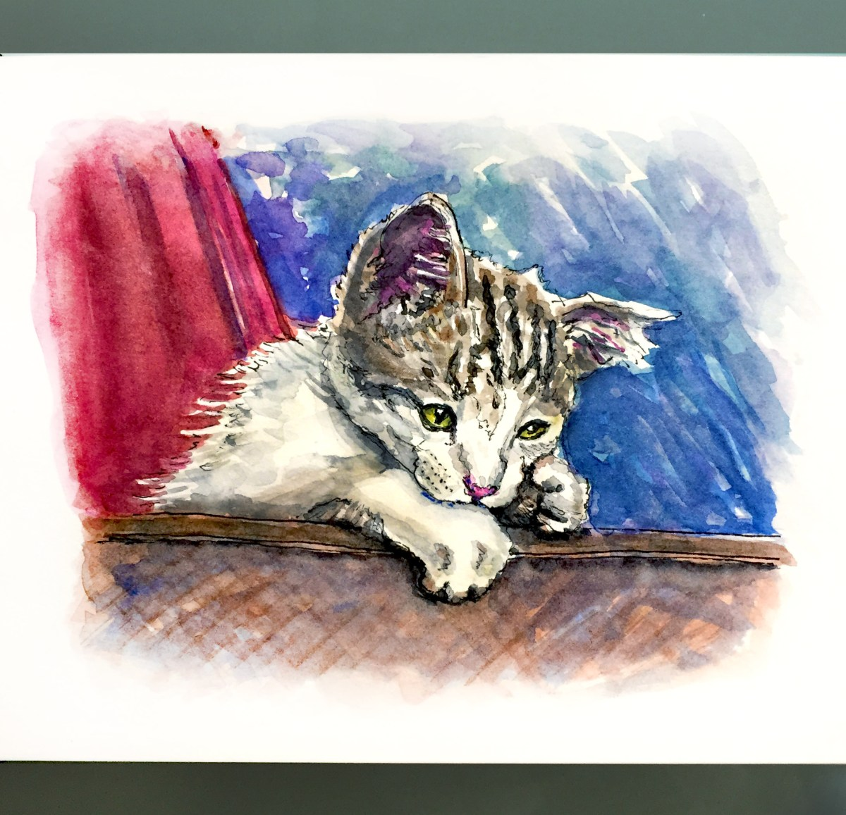 Day 4 - #WorldWatercolorGroup Le Chat Derrière La Fenêtre Cat in a window of a restaurant in Paris, France