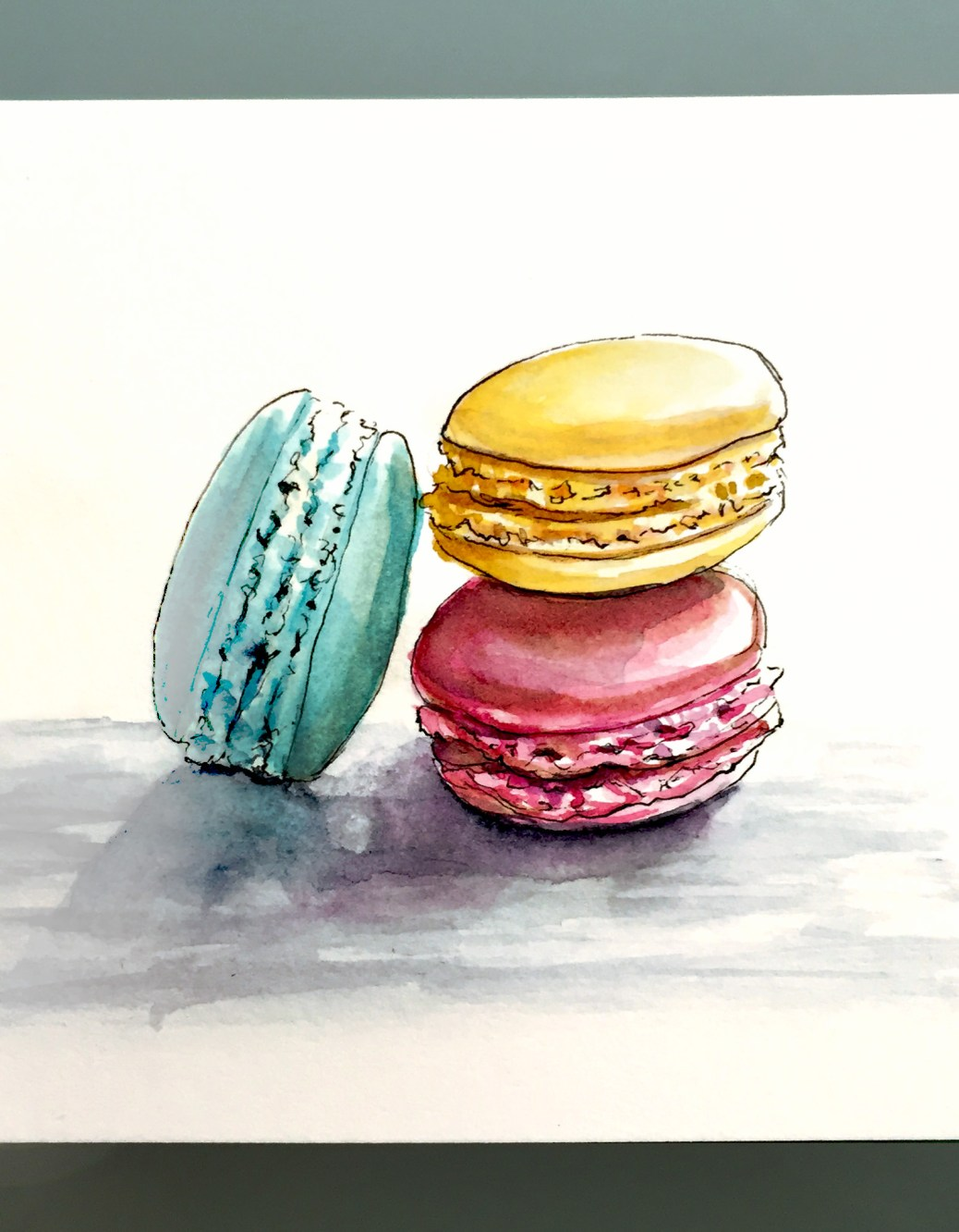 Day 7 #WorldWatercolorGroup French Macarons Paris France