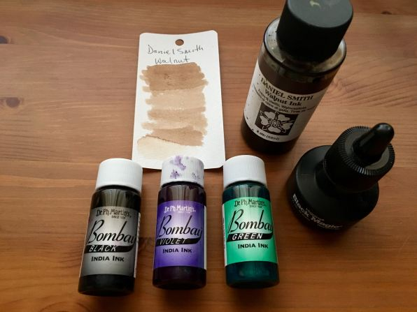 waterproof ink, higgins black magic ink, daniel smith walnut ink, dr. ph. martin's bombay india ink
