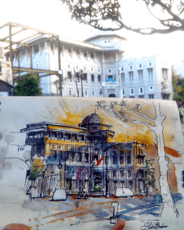 #WorldWatercolorGroup - Watercolor sketch by Noor Huda Bastomi of jiwasraya building #urbansketchers #usk - #Doodlewash